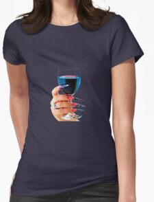 Glass of red wine Womens Fitted T-Shirt
