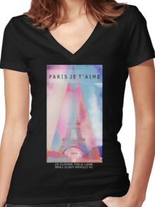 Paris lover Women's Fitted V-Neck T-Shirt
