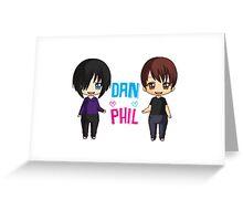 Dan and Phil  cute chibi style <3 Greeting Card