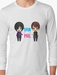 Dan and Phil  cute chibi style <3 Long Sleeve T-Shirt