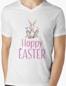 Pink Hoppy Easter And Cute Bunny Mens V-Neck T-Shirt