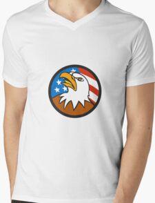 American Bald Eagle Head Looking Up Flag Circle Cartoon Mens V-Neck T-Shirt