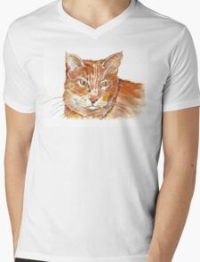 Ginger Tabby Mens V-Neck T-Shirt