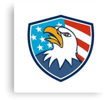 American Bald Eagle Head Looking Up Flag Crest Cartoon Canvas Print