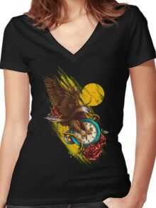 Time Flies Women's Fitted V-Neck T-Shirt