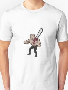 Dog Lumberjack Tree Surgeon Arborist Chainsaw Cartoon T-Shirt