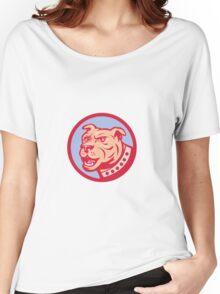 Mastiff Dog Mongrel Head Side Circle Cartoon Women's Relaxed Fit T-Shirt