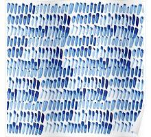 Shibori  blue indigo brush strokes Poster