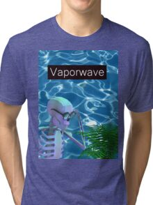 Vaporwave Skeleton - Trippy Plant Tri-blend T-Shirt