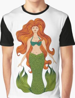 Mermaid with beautiful red hair.  Graphic T-Shirt