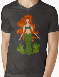 Mermaid with beautiful red hair.  Mens V-Neck T-Shirt
