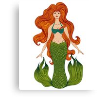 Mermaid with beautiful red hair.  Canvas Print