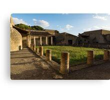 Herculaneum Ruins - Quiet Long Shadows Courtyard Canvas Print