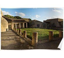 Herculaneum Ruins - Quiet Long Shadows Courtyard Poster