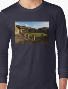 Herculaneum Ruins - Quiet Long Shadows Courtyard Long Sleeve T-Shirt