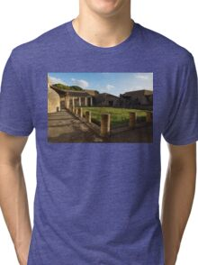 Herculaneum Ruins - Quiet Long Shadows Courtyard Tri-blend T-Shirt