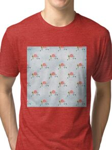 LOVELY roses on blue - pattern Tri-blend T-Shirt