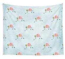 LOVELY roses on blue - pattern Wall Tapestry