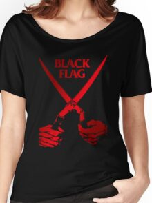 Retro Punk Restyling   - Black Flag red scissors Women's Relaxed Fit T-Shirt