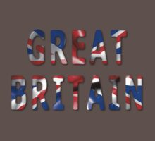 Great Britain Word With Flag Texture One Piece - Short Sleeve