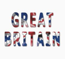 Great Britain Word With Flag Texture Kids Tee