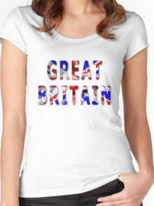 Great Britain Word With Flag Texture Women's Fitted Scoop T-Shirt