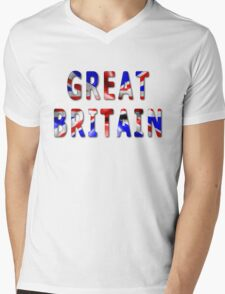 Great Britain Word With Flag Texture Mens V-Neck T-Shirt