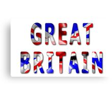 Great Britain Word With Flag Texture Canvas Print