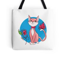 Cute funny cat with flower illustration. Tote Bag