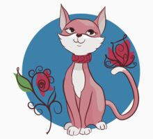 Cute funny cat with flower illustration. Kids Tee