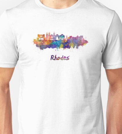 Rhodes skyline in watercolor Unisex T-Shirt