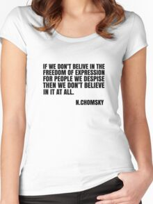 Noam Chomsky Quote Free Speech Freedom  Women's Fitted Scoop T-Shirt