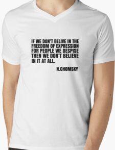 Noam Chomsky Quote Free Speech Freedom  Mens V-Neck T-Shirt