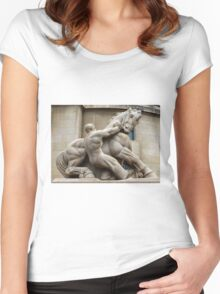 Man Controlling Trade Women's Fitted Scoop T-Shirt