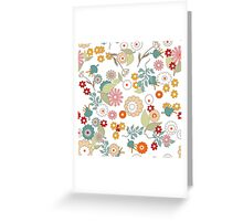 Retro floral pattern, digital print retro cartoon cute background Greeting Card