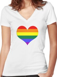 gay heart - gay, love, csd, rainbow, lesbian, pride Women's Fitted V-Neck T-Shirt