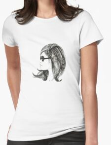Girl with sunglasses Womens Fitted T-Shirt