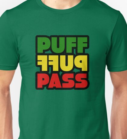 Weed Stoner Puff Puff Pass Pot Funny Cool Rasta Jamaica Unisex T-Shirt