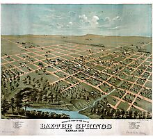 Birds eye view of the city of Baxter Springs Kansas (1871) Photographic Print