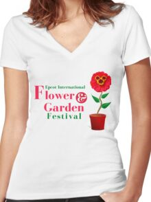 Epcot Flower and Garden Festival Planted Mickey Women's Fitted V-Neck T-Shirt