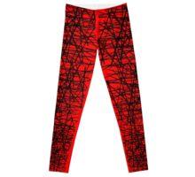 Muster Gitter Schwarz Auf Rot Leggings