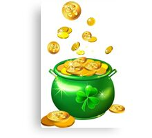 St. Patrick`s Day shiny green pot Canvas Print