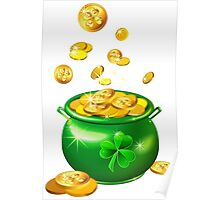 St. Patrick`s Day shiny green pot Poster