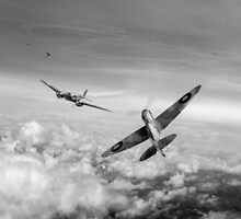 Spitfire attacking Heinkel bomber, black and white version by Gary Eason