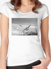 Spitfire attacking Heinkel bomber, black and white version Women's Fitted Scoop T-Shirt