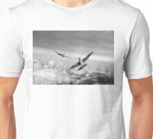 Spitfire attacking Heinkel bomber, black and white version Unisex T-Shirt