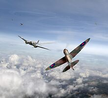 Spitfire attacking Heinkel bomber by Gary Eason