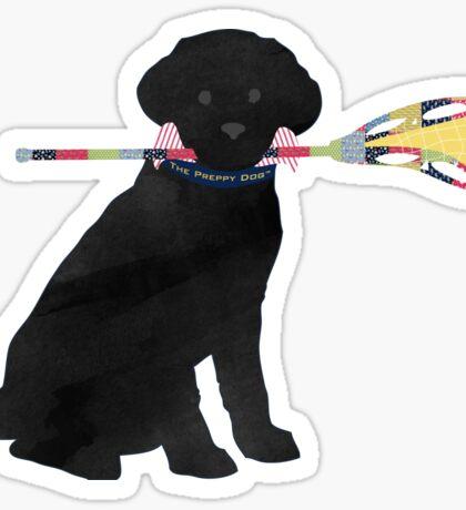 Black Lab Retriever Lacrosse Dog Sticker