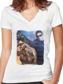 LOT - Captain Cold & Heatwave Paint Splash Women's Fitted V-Neck T-Shirt