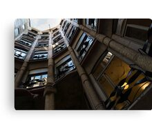 La Pedrera Courtyard – Antoni Gaudi's Masterpiece in Barcelona, Spain Canvas Print